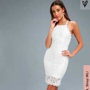 Wishful Wanderings White Lace Bodycon Midi Dress